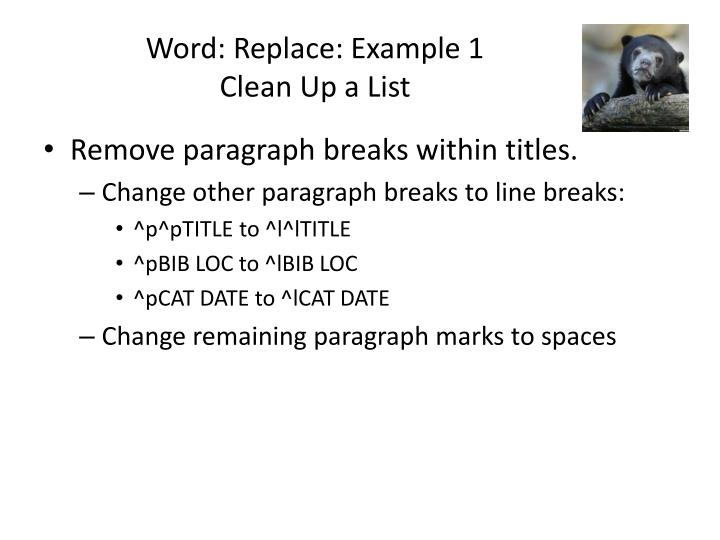 Word: Replace: Example 1