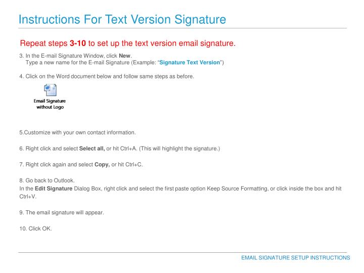 Instructions For Text Version Signature