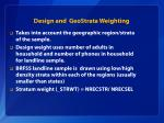design and geostrata weighting