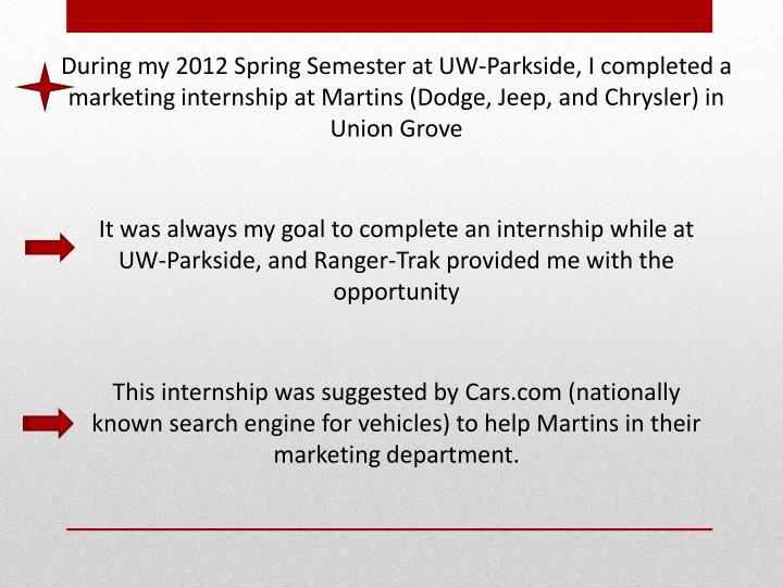 During my 2012 Spring Semester at UW-Parkside, I completed a marketing internship at Martins (Dodge,...
