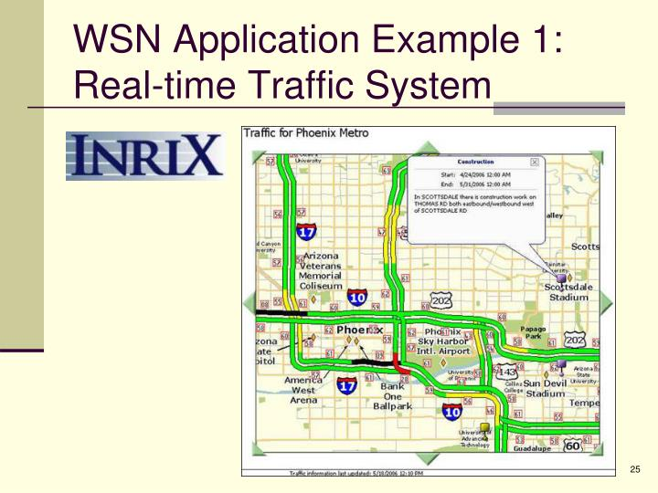 WSN Application Example 1: Real-time Traffic System
