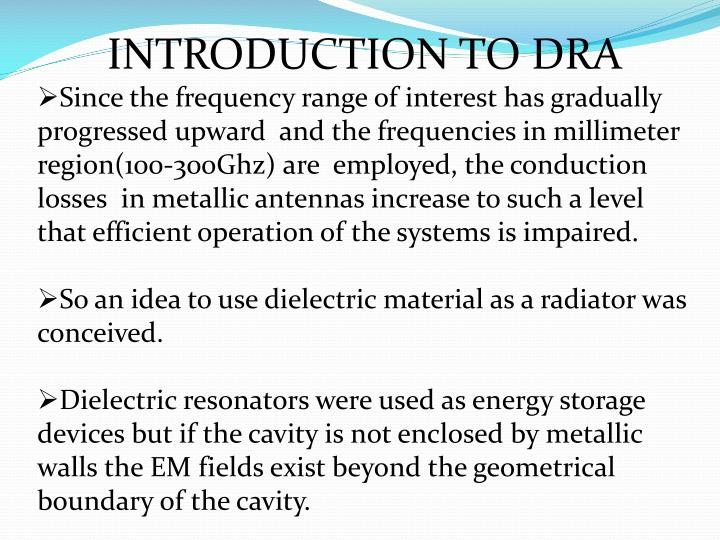 Ppt dielectric resonator antenna powerpoint presentation id.