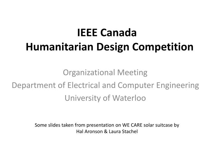 Ieee canada humanitarian design competition