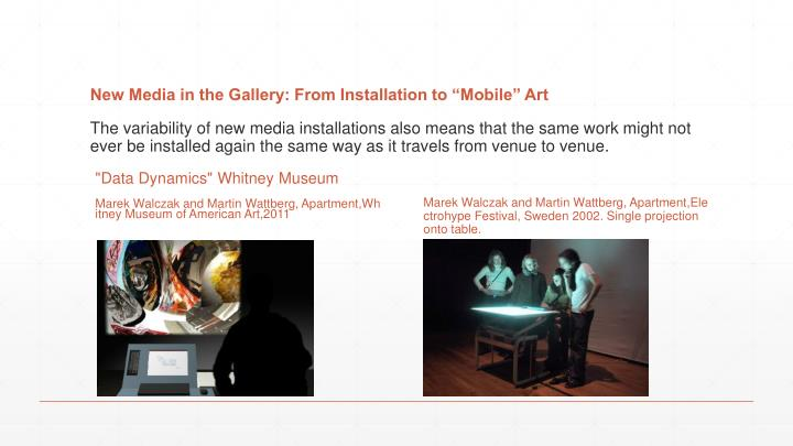 """New Media in the Gallery: From Installation to """"Mobile"""" Art"""