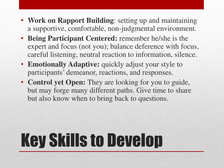 Work on Rapport Building