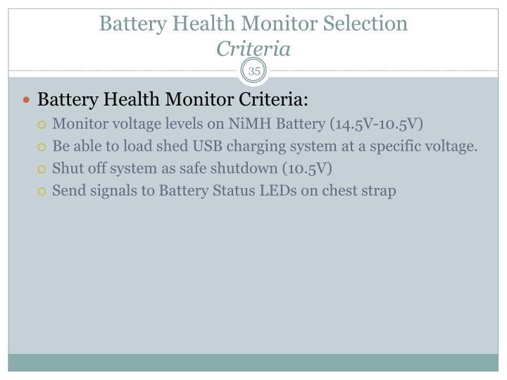 Battery Health Monitor Selection