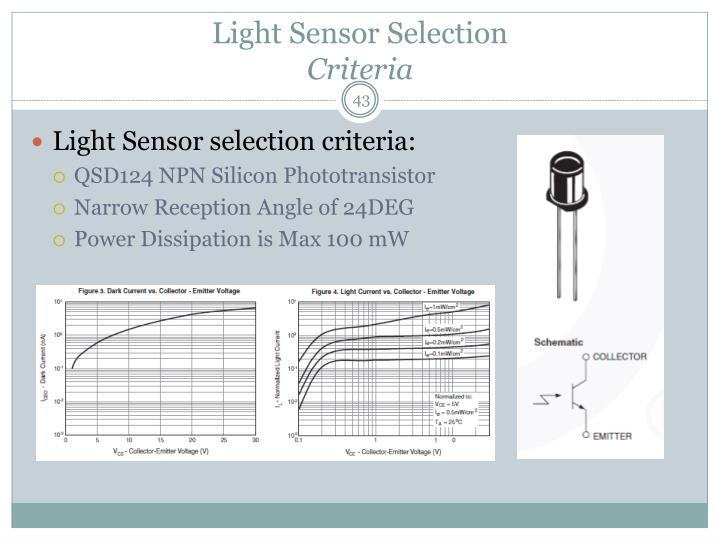 Light Sensor Selection