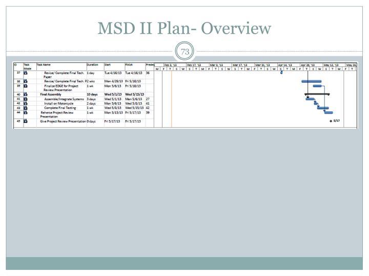 MSD II Plan- Overview