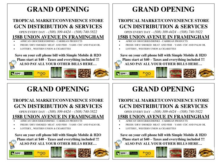 PPT - GRAND OPENING TROPICAL MARKET/CONVENIENCE STORE GCN