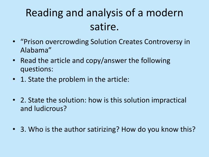 Reading and analysis of a modern satire.