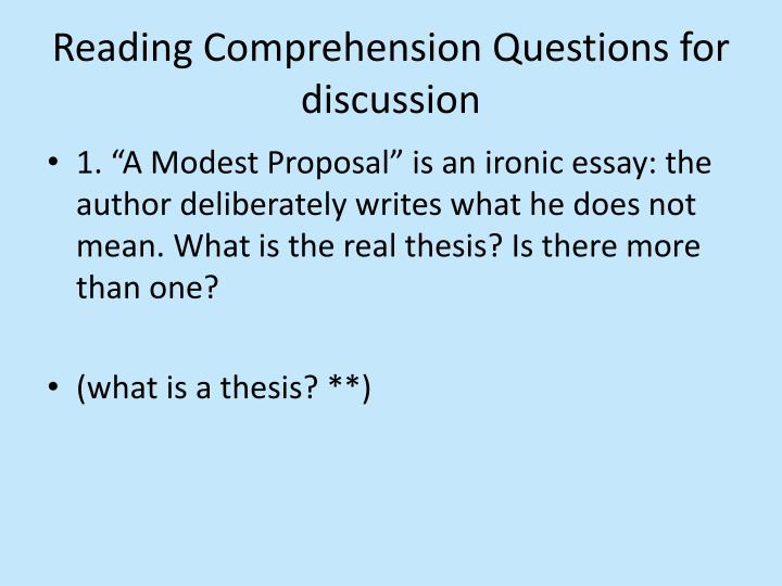 Reading Comprehension Questions for discussion