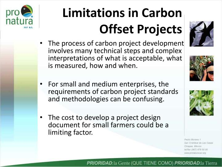 Limitations in carbon offset projects