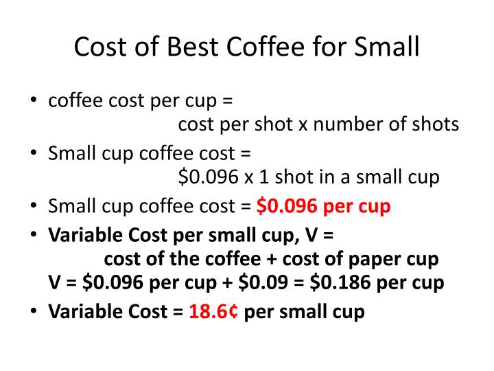 Cost of Best Coffee for Small