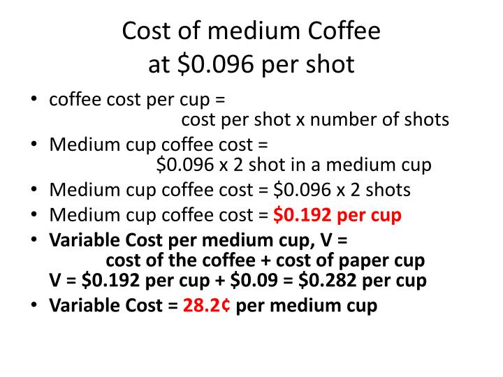 Cost of medium Coffee