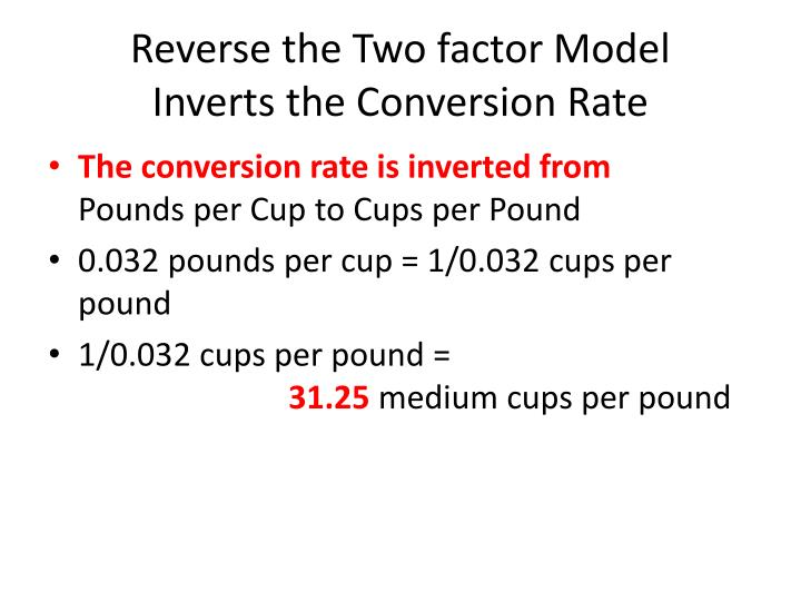 Reverse the Two factor Model