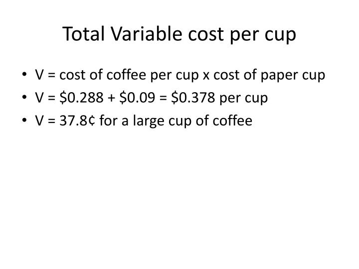 Total Variable cost per cup