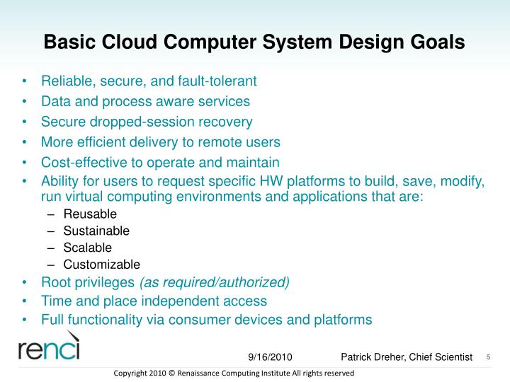 Basic Cloud Computer System Design Goals