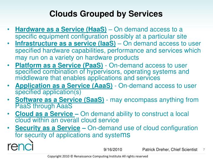 Clouds Grouped by Services
