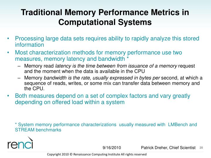 Traditional Memory Performance Metrics in Computational Systems