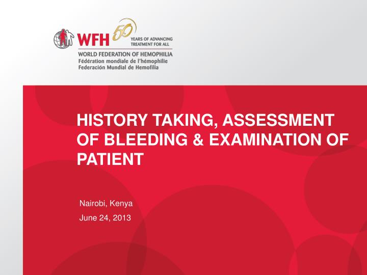 history taking assessment of bleeding examination of patient n.