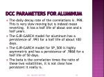 dcc parameters for aluminum