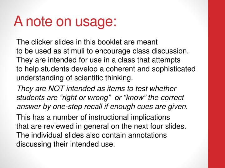 A note on usage