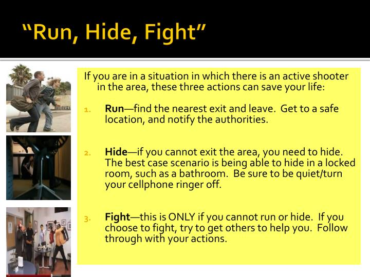 """Run, Hide, Fight"""
