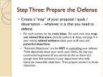 step three prepare the defense