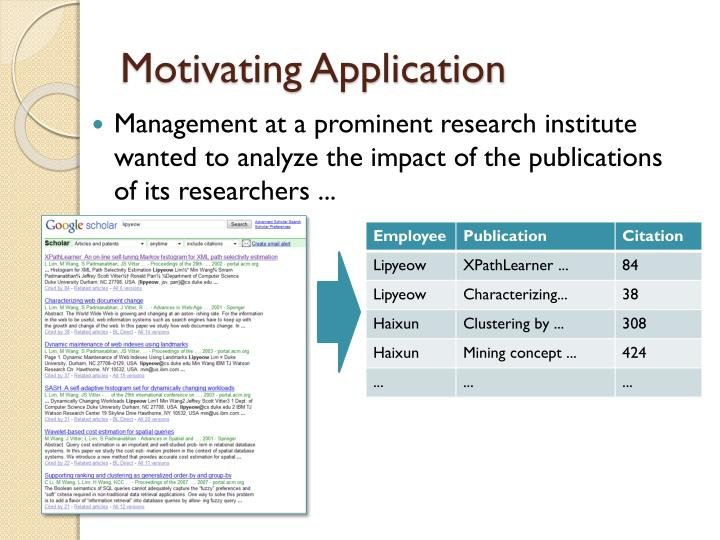 Motivating application
