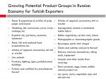 g rowing p otential product groups in russian economy for turk ish exporters1