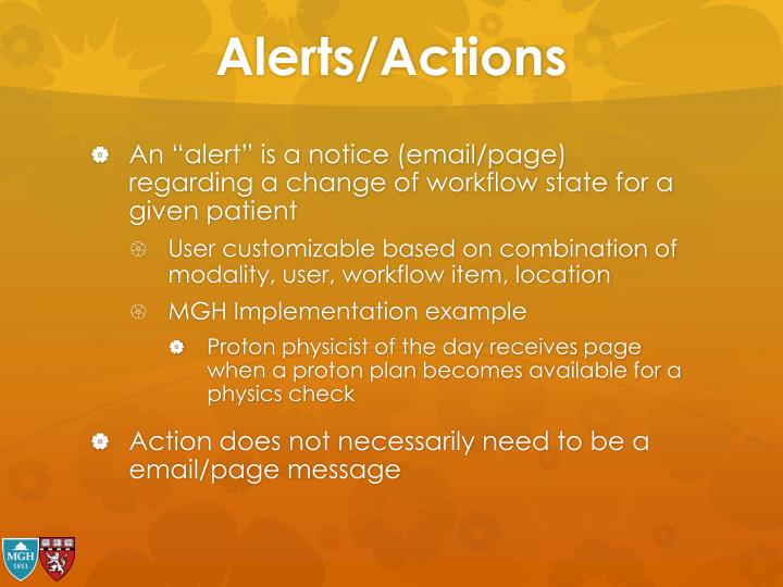 Alerts/Actions