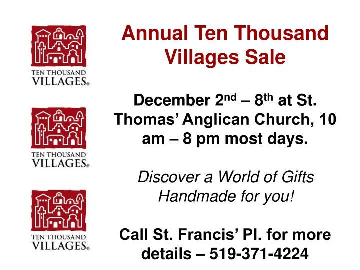 Annual Ten Thousand Villages Sale