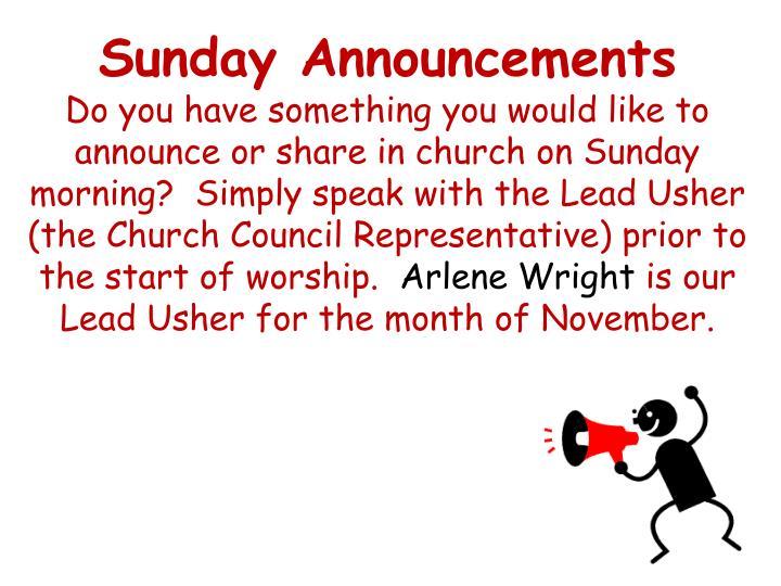 Sunday Announcements