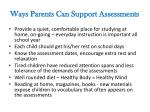 ways parents can support assessments