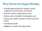 ways parents can support reading