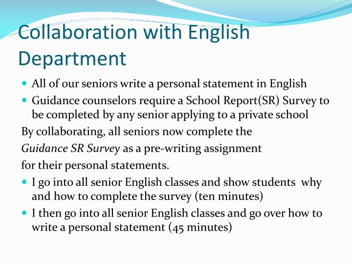 Collaboration with English Department