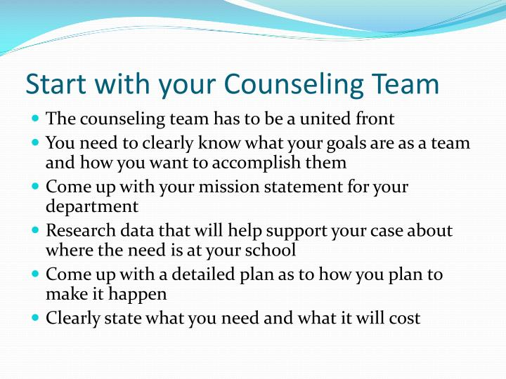 Start with your Counseling Team
