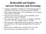 rothschild and stiglitz adverse selection and screening