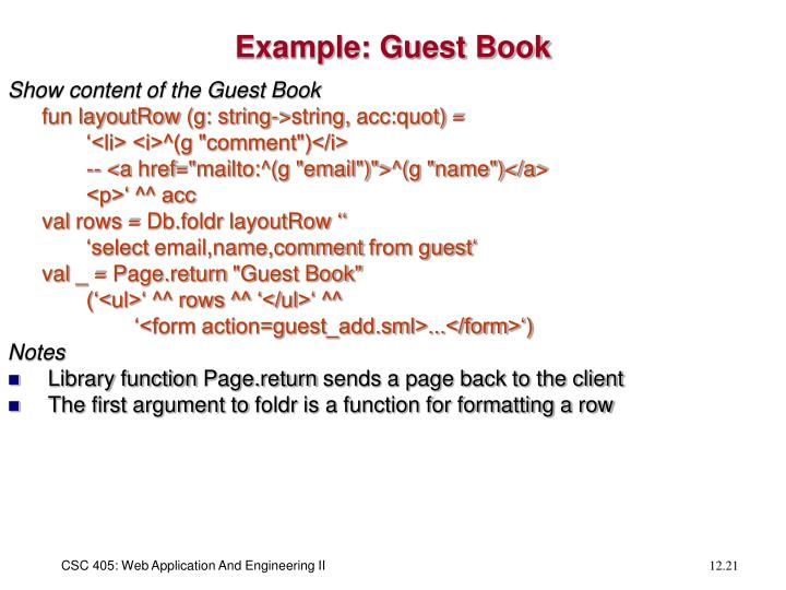 Example: Guest Book