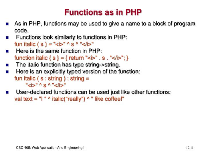 Functions as in PHP