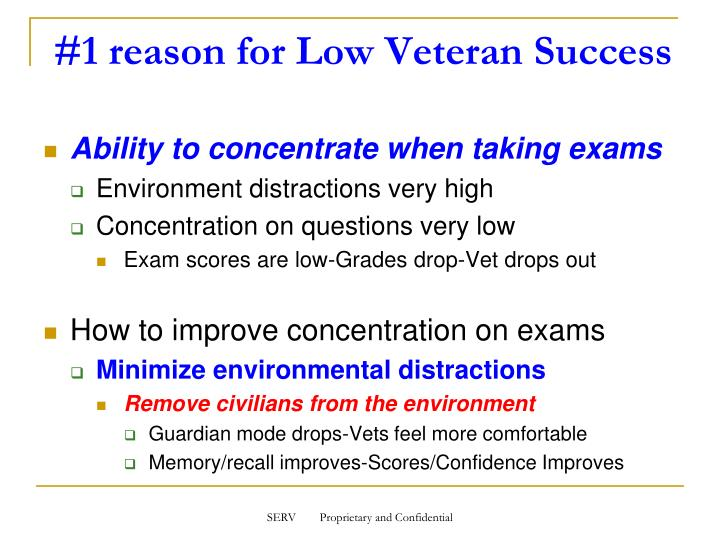 Ability to concentrate when taking exams