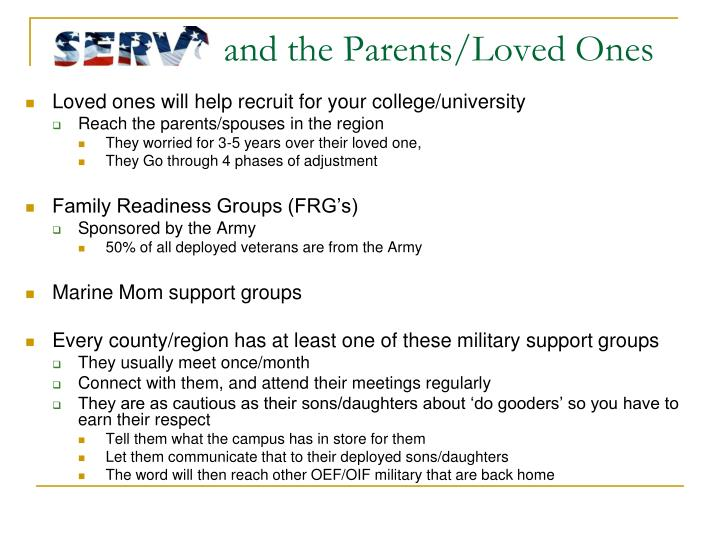 and the Parents/Loved Ones