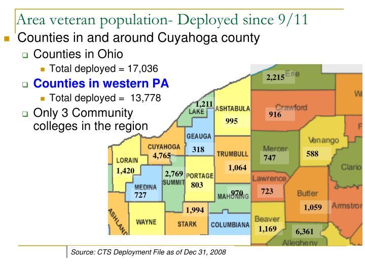 Area veteran population- Deployed since 9/11
