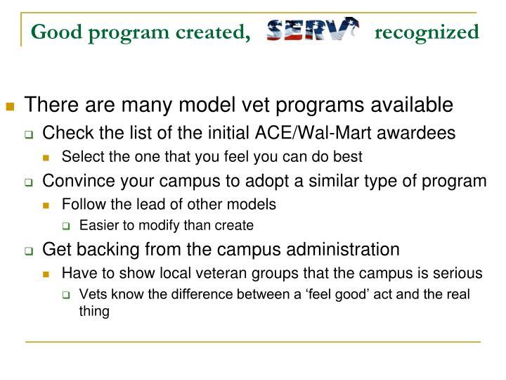 Good program created,                      recognized