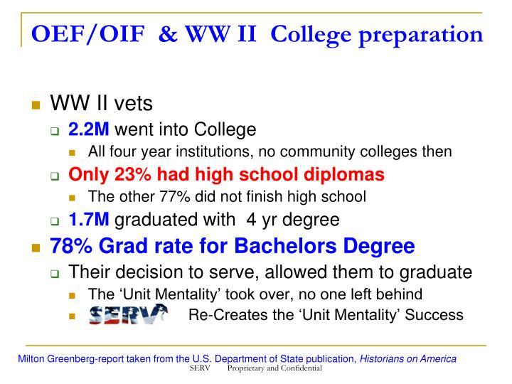 OEF/OIF  & WW II  College preparation