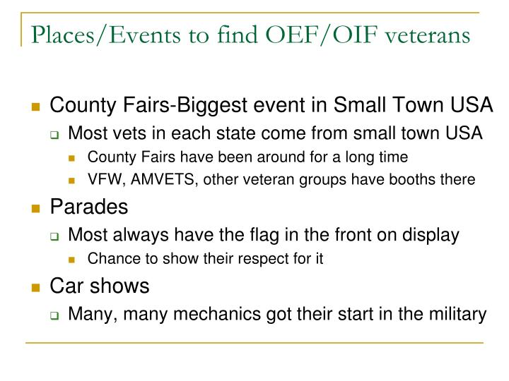Places/Events to find OEF/OIF veterans