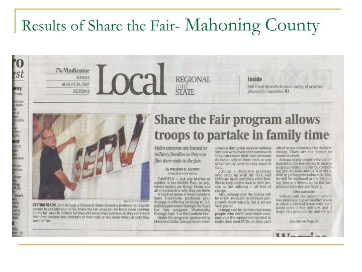 Results of Share the Fair-