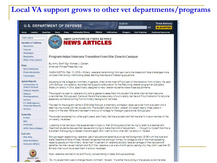 Local VA support grows to other vet departments/programs