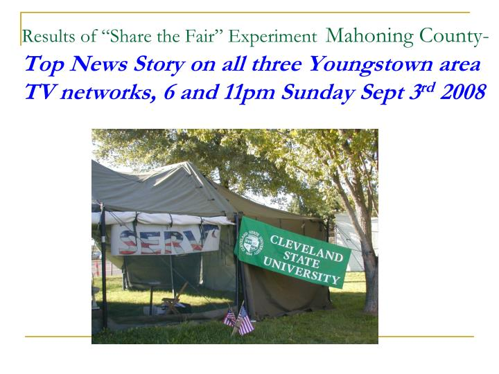 """Results of """"Share the Fair"""" Experiment"""