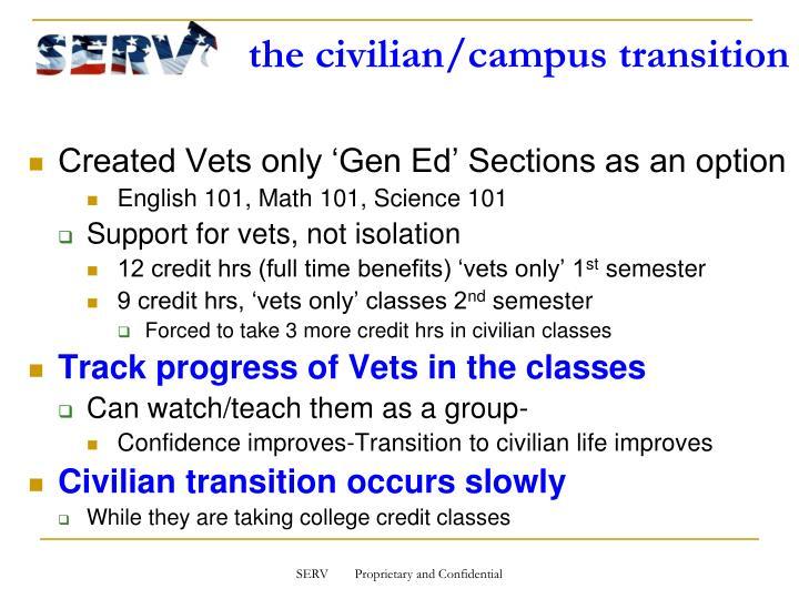 the civilian/campus transition